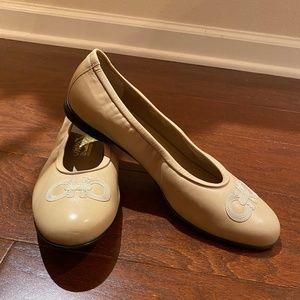 Ferragamo Tan Ballet Flats 9/12 B Never Worn!
